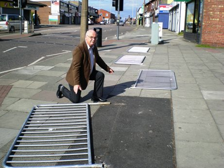 Cllr Chris Blakeley pictured at the site of the vandalism