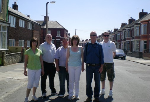 Lto R: Marg Kalil, Me, Cllr Paul Hayes, Cllr Leah Fraser, Cllr Denis Knowles, Cllr Ian Lewis, pictured in Norwood Road, after completing the delivery