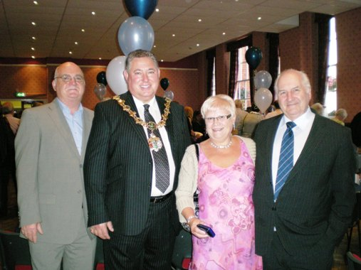 L to R:  Cllr Chris Blakeley, The Mayor of Wirral, Cllr Andrew Hodson, my sister Val Frost, and my eldest brother, Brian pictured at the reunion
