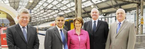 L to R: Neil Scales.Sadiq Khan MP, Louise Ellman MP, Cllr Mark Dowd, Cllr Chris Blakeley pictured at Lime Street Station this morning