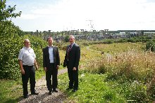 L to R: Cllr Chris Blakeley, Andrew Gilbert and Glyn Mon Hughes, pictured at the site