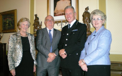 L to R: Cllr Kate Wood, Cllr Chris Blakeley, Bernard Hogan-Howe, Cllr Lesley Rennie